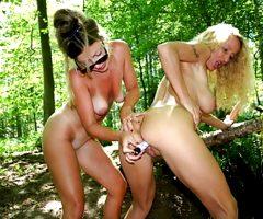 2 hot lesbian milfs in forest – amateur compilation