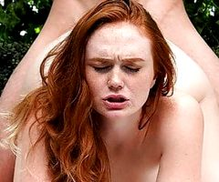 Bubble Butt Natural Redhead Fucks 2 Guys Same Time