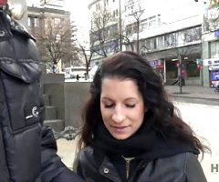 Cameraman fucks comely brunette next to her grumpy cuckold