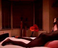 Curvy blonde wife in stockings interracial