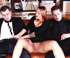 Glamkore – Brunette Euro babe in DP threesome