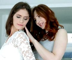 Lesbians Lana Seymour and Ariadna in Fashion show by SapphiX