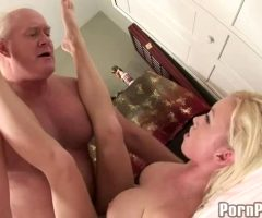 Madison Scott Savours And Swallows Old Fat Man's Cum