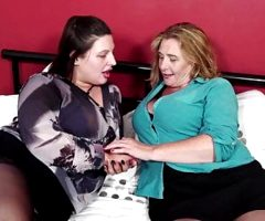 Mature busty lesbos feeding their pussies