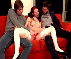 Redhead Girl Gets Her Ass And Her Pussy Fucked By Two Guys