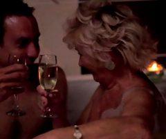 Romantic evening in the bathroom. Grandma Tamara