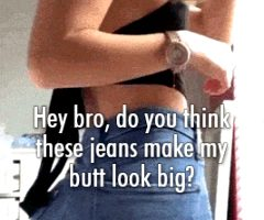 Showing my new jeans to my bro