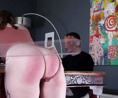 The husband disciplines his young wife
