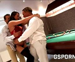 The slut and the billiards, double vaginal fuck