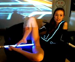 Tron cosplay with lightsaber