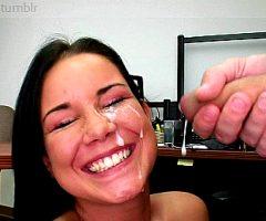 Young Girl Face Blasted Huge Cumshot