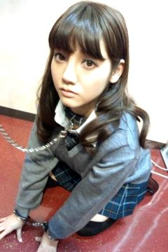 Beautiful asian student collared