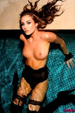 Chloe Goodman – Black Bodysuit Stockings Gloves And Heels In The Pool