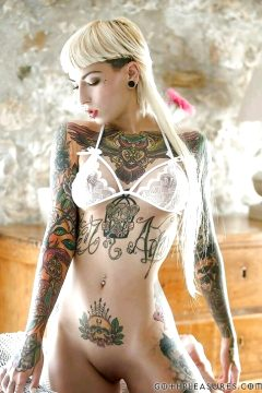 Hot Blonde With Body Tattoos