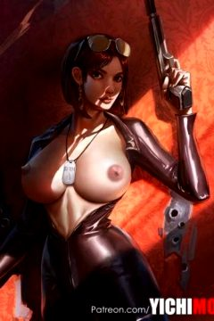 Nice Big Tits Babe Wearing Tight Leather Costume by Yichimoo