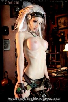 Sext Steampunk Cosplayer Shows Off Big Tits