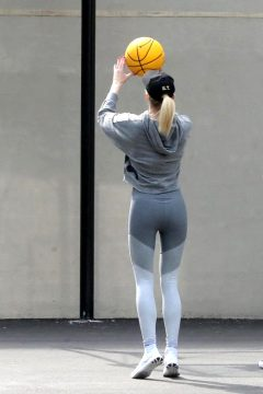 Sophie Turner Shooting Hoops